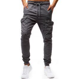 BASIC Pánské šedé kalhoty (ux1252) velikost: S, odstíny barev: šedá