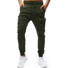 BASIC Pánské zelené kalhoty (ux1253) velikost: S, odstíny barev: zelená