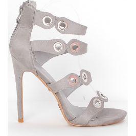 BASIC Šedé sandály s kulatými cvoky - LE041 Velikost: 38