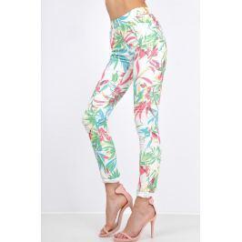 Světlé kalhoty s motivem džungle - G1032 velikost: L, odstíny barev: zelená