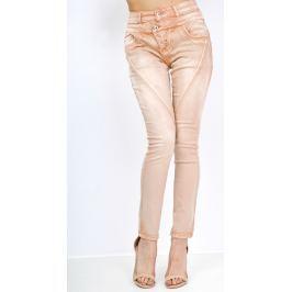 Vysoké kalhoty ve stylu jeans (B308) velikost: XS, odstíny barev: oranžová