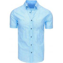BASIC Pánská světle modrá košile se vzory (kx0825) velikost: M, odstíny barev: modrá