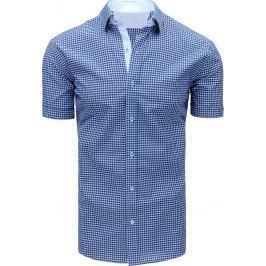 BASIC Modrá kostkovaná pánská košile (kx0841) Velikost: M