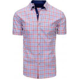 BASIC Pánská kostkovaná košile (kx0850) velikost: M, odstíny barev: modrá