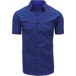 BASIC Modrá kostkovaná košile (kx0798) velikost: M, odstíny barev: modrá