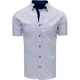 BASIC Bílo-šedá kostkovaná košile (kx0803) velikost: M, odstíny barev: šedá