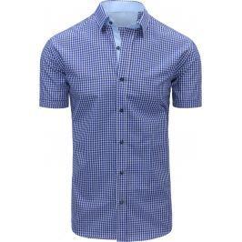 BASIC Modrá kostkovaná košile (kx0804) velikost: M, odstíny barev: modrá