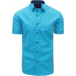 BASIC Modrá košile se vzorem (kx0808) velikost: M, odstíny barev: modrá