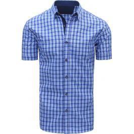 BASIC Modrá kostkovaná košile (kx0809) velikost: M, odstíny barev: modrá