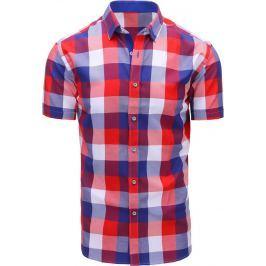 BASIC Červeno-fialová kostkovaná košile (kx0810) velikost: M, odstíny barev: barevná