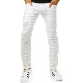 BASIC Bílé kalhoty ve stylu jeans (ux1260) velikost: 29, odstíny barev: bílá