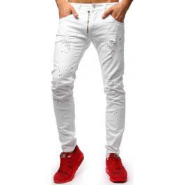 BASIC Bílé kalhoty ve stylu jeans (ux1262) velikost: 29, odstíny barev: bílá
