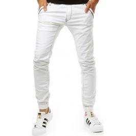 BASIC Bílé kalhoty ve stylu jeans (ux1263) velikost: 29, odstíny barev: bílá