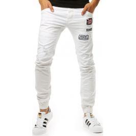 BASIC Bílé kalhoty ve stylu jeans (ux1264) velikost: 29, odstíny barev: bílá