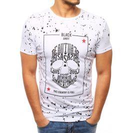 BASIC Pánské bílé tričko s potiskem lebky  (rx2798) velikost: L, odstíny barev: bílá