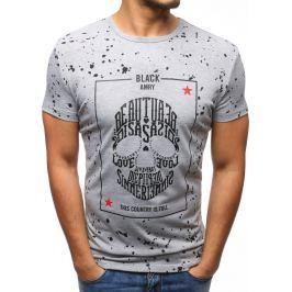 BASIC Pánské šedé tričko s potiskem lebky (rx2799) velikost: M, odstíny barev: šedá