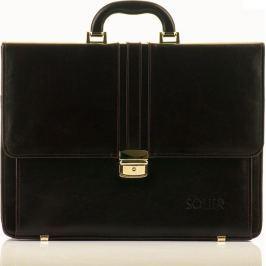 Luxusní kožená hnědá aktovka SOLIER OFFICE BROWN (SL35 BROWN) velikost: univerzální, odstíny barev: hnědá