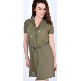 Hnědé lehké košilové šaty - SK27 velikost: L, odstíny barev: hnědá