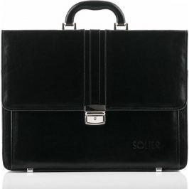 Luxusní kožená černá aktovka SOLIER OFFICE BROWN (SL35 BLACK) velikost: univerzální, odstíny barev: černá