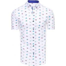 BASIC Pánská bílá košile se vzory (kx0853) velikost: M, odstíny barev: bílá