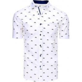 BASIC Pánská bílá košile se vzory (kx0860) velikost: M, odstíny barev: bílá