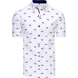 BASIC Bílá košile s motivem aut (kx0861) velikost: M, odstíny barev: bílá