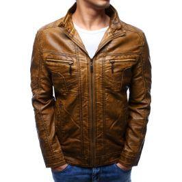 BASIC Pánská světle hnědá kožená bunda (tx2179) velikost: M, odstíny barev: hnědá