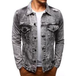 BASIC Pánská šedá džínová bunda (tx2189) velikost: S, odstíny barev: šedá