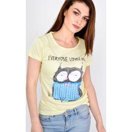 Žluté tričko SOVA s nápisem Everyone loves me TS95-53 velikost: L, odstíny barev: žlutá