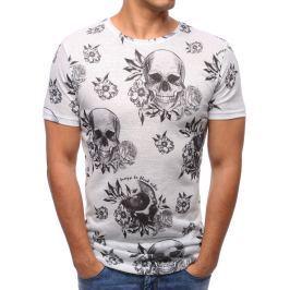 BASIC Pánské bílé tričko s potiskem  (rx2810) velikost: S, odstíny barev: bílá