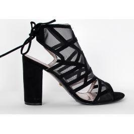 Dámské černé sandály na podpatku C100-3 velikost: 37, odstíny barev: černá