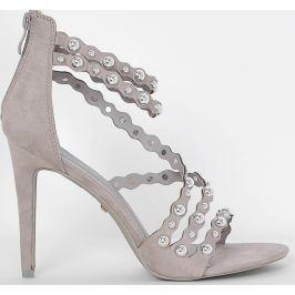 Šedé páskové sandály s perlami D1218-4 velikost: 36, odstíny barev: šedá