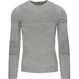 BASIC Pánský šedý svetr (wx0802) velikost: M, odstíny barev: šedá