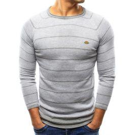 BASIC Pánský pruhovaný šedý svetr (wx0808) velikost: M, odstíny barev: šedá