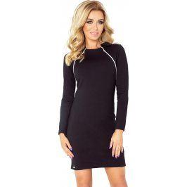 NUMOCO Teplé černé šaty se zipy 130-3 velikost: S, odstíny barev: černá