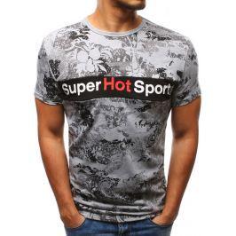 BASIC Pánské šedé tričko s potiskem  (rx2921) velikost: M, odstíny barev: šedá