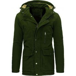 BASIC Pánská zimní olivová bunda (tx1444) velikost: 2XL, odstíny barev: zelená
