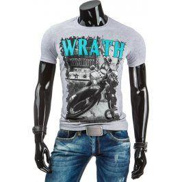 BASIC Pánské šedé tričko s potiskem (rx1648) velikost: 2XL, odstíny barev: šedá