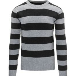 BASIC Pánský pruhovaný šedý svetr (wx0874) velikost: 2XL, odstíny barev: šedá