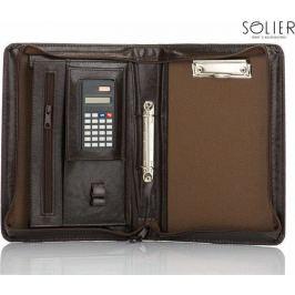 Praktické hnědé pouzdro na dokumenty s kalkulačkou Solier (ST02 BROWN) Velikost: univerzální