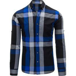 BASIC Pánská kostkovaná modrá košile (dx1162) velikost: 2XL, odstíny barev: modrá
