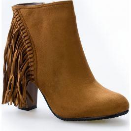 Kotníkové camel boty s třásněmi - C138 velikost: 36, odstíny barev: hnědá