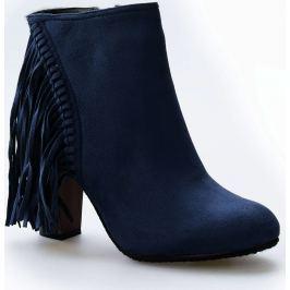 Kotníkové modré boty s třásněmi - C138 velikost: 36, odstíny barev: modrá