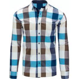BASIC Pánská károvaná tyrkysovo-béžová košile (dx1189) velikost: XL, odstíny barev: barevná