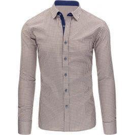 BASIC Hnědá kostkovaná košile (dx1226) Velikost: 2XL