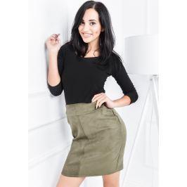 Semišová khaki sukně - SP03 velikost: XL, odstíny barev: zelená