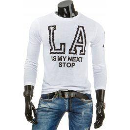 BASIC Pánské bílé tričko s dlouhým rukávem (lx0312) velikost: 2XL, odstíny barev: bílá