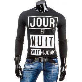 BASIC Pánské černé tričko s dlouhým rukávem (lx0315) velikost: L, odstíny barev: černá