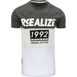 BASIC Pánské antracitové tričko s potiskem (rx1753) velikost: 2XL, odstíny barev: šedá