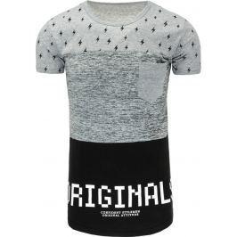 BASIC Pánské šedé tričko s potiskem (rx1760) velikost: M, odstíny barev: šedá